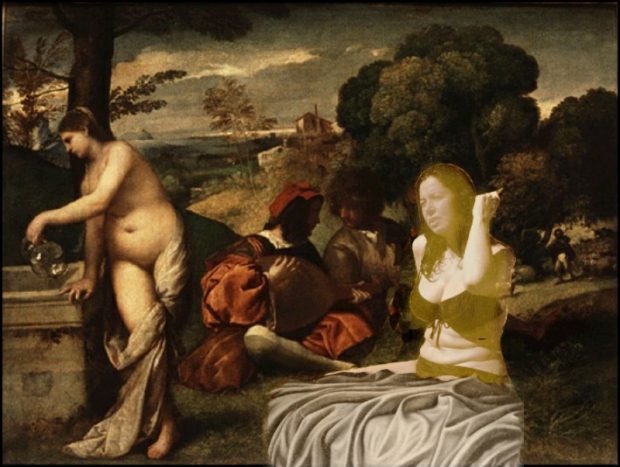 Being sociable. Joining Titian's party of semi-naked women and of course fully clad men. But what happens in High Renaissance stays in High Renaissance.